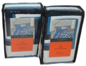 2 Jill Rosenwald Greek Key Blue Quilted Standard Shams Set New Designer Series