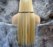 "23"" BLEACH BLONDE FLIP IN SECRET CLEAR WIRE HAIR PIECE EXTENSIONS NO CLIP IN/ON"
