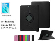 "Screen Protector/360°Rotate PU Leather Case for Samsung Galaxy Tab S2 9.7"" 8.0"""