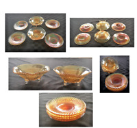 VINTAGE Iridescent Amber Carnival Glass 6-Piece Set (2) Bowls (4) Swirl Plates