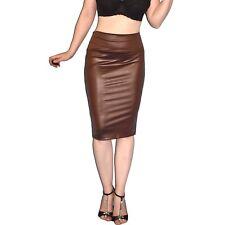 enger KUNSTLEDER ROCK in braun glänzend* M 42 * wetlook Pencil Skirt High Waist