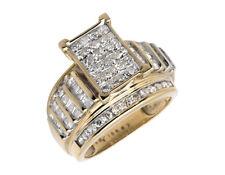 Ladies 10K Yellow Gold Baguette Princess Cut Real Diamond Engagement Ring 2.0ct