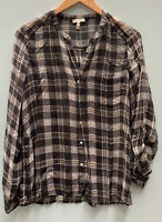 JOIE Small Top Silk Nura Shirt Black Pink Plaid Blouse V Neck Long Sleeve Sheer