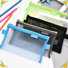 Hot Clear Exam Pencil Case 19.5cm Transparent Simple Mesh Zipper Stationery Bag