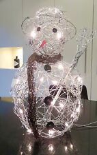 Xmas Rattan/Wire SNOWMAN Silver 46 cm tall battery 20 lights lounge gift