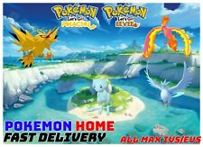 Pokemon Let's GO Shiny Articuno, Moltres, Zapdos & Shiny Mew [ 6 IV ]  SET