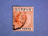 Cyprus. 1906 KEVII 10pa Orange & Green. SG61. Wmk Mult Crown CA. P14. Used.