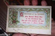 1913 embossed Christmas greetings postcard Canadian posted holly berries