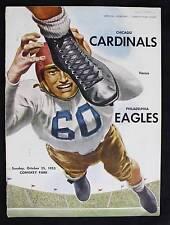 10/25/1953 Philadelphia Eagles v Chicago Cardinals NFL Program: Trippi Pihos TDs