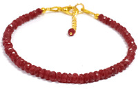 3-4 MM Dyed Ruby Jade Rondelle Gemstone Faceted Beads Bracelet With Chain