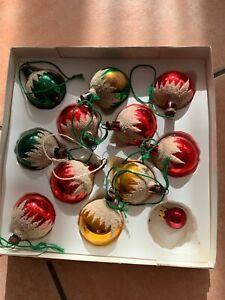Alte kleine Weihnachtskugeln DDR Lauscha Glas in Bunt in OVP