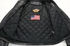 USA mens harley davidson leather jacket vest L black WiLLiE G braided bar liner