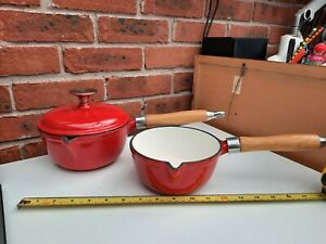 New Cast Iron And Enamel 2 Pan Set Red some chips see photos