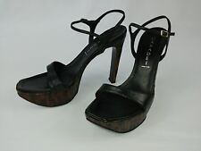 Casadei black leather platform high heel sandals made in Italy 7.5