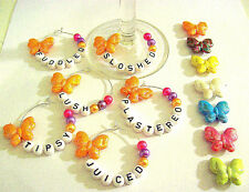 6 X WINE GLASS RINGS CHARMS NOVELTY SLOSHED TIPSY etc. BUTTERFLY PARTY JOKES