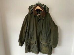 Mens Barbour Border Olive Wax Jacket With Hood - XXL
