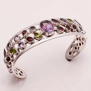 Amethyst, Citrine Multi Cut Gemstone Handmade Sterling Silver Handcuff Jewelry