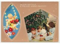 Christmas Photo Card Tree Children Toys Vintage Angel Swing Stars