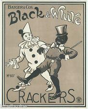 ORIGINAL LABEL VINTAGE FIRECRACKERS ENGLAND 1930S BLACK & WHITE CLOWN MINSTREL