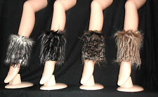 FANCY DRESS FAUX FUR BOOT SLEEVE COVER -ANKLE WARMER- LEOPARD - TIGER OSTRICH UK