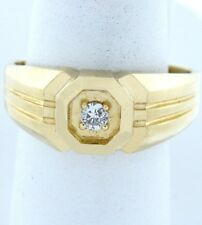 Mens 14K Yellow Gold Solitaire Diamond Wedding Band