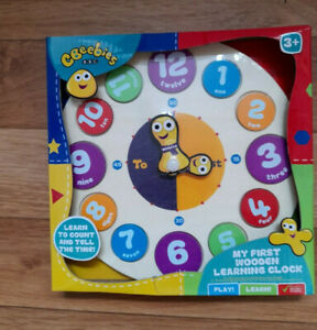 BBC Cbeebies My First Clock, learning clock, learn to tell the time, wooden