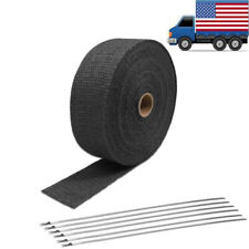 "2"" 50FT Black Fiberglass Manifold Header Pipe Motorcycle Exhaust Heat Wrap"