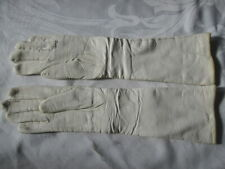 Vintage Ladies genuine fine-grained Leather Opera Glove off white wool lined 6