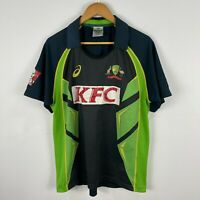Asics Cricket Australia Polo Shirt Mens Large Green Short Sleeve