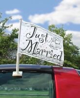 Just Married Car Flag With Mounting Bracket 60 x 40cm Wedding Party Decoration