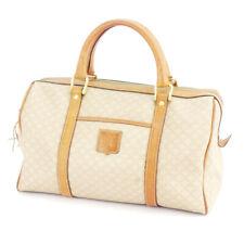 CELINE Boston bag macadam beige PVC �~ leather Auth used D2115