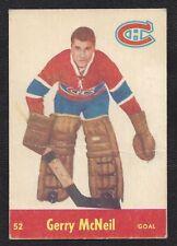 1955 Parkhurst #52 Gerry McNeil, Montreal Canadiens Vintage NHL Hockey 1955-56