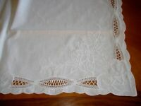 """Vintage  Embroidered White Linen Doily Table Topper 30"""" square"""