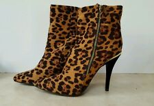 "Anne Michelle 4"" High Heel Dress Ankle SEXY Boots Shoes Sz 9 Animal Print CLUB"