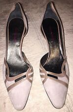 Giorgio Armani Suede Pointed Toe Kitten Heel Pumps, Sz 6.5,Taupe, Authentic, New