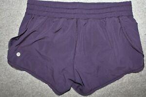 Womens Sz 6 Lululemon Run Hotty Hot Brief Lined Running Shorts Dark Plum Purple
