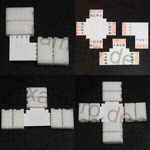 RGB LED Strip Verbinder L T X Kreuz Eckverbinder 4 polig Schnellverbinder 10mm