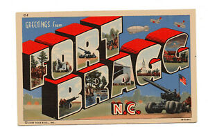 Greetings From Fort Bragg North Carolina Large Letter Linen Postcard Oct 20 1942