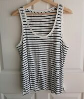 NWT Madewell Womens Ivory Navy Striped Scoop Neck Tank Top Shirt Size Large