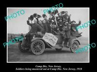 OLD LARGE HISTORIC PHOTO OF CAMP DIX NEW JERSEY, AMERICAN SOLDIERS LEAVING 1918