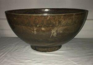 """Fiber Clay Brown 16"""" x 8""""  Indoor/Outdoor Flower Planter Bowl Pot EC!"""
