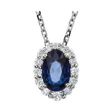 Blue Sapphire and 1/6 CTW Diamond Pendant Necklace 14K White Gold