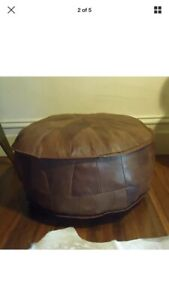 Stunning Hand Made Leather Ottoman Pouffe Pouf Footstool In Antique Tan