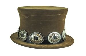 Brown Pop Up Steampunk Top Hat Leather Like Rock Star Concho Slash Hat