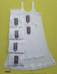 2 Pack Girls Petticoats Age 3-16 YEARS School thermal VEST DRESS WHITE COTTON