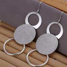 Fashion 925Sterling Solid Silver Jewelry 3Circles Long Dangle Earrings E012