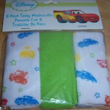 New Disney Cars 3 Pack Terry Washcloths, LIGHTNING MCQUEEN, MATER, BABY SHOWER