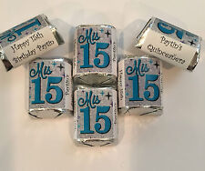 30 Quinceanera Mis 15 Birthday Candy Bar Wrappers Favors Teal