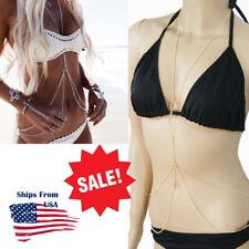 Women Sexy Belly Chest Body Chain Between Breast Bra Metal Harness Jewelry Usa