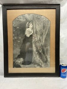 VTG Framed Victorian Print Lady Woman Carved Hearts In Love Tree Wood Frame